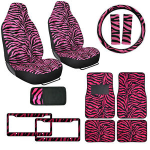 Safari Hot Pink Zebra Print Car Truck Seat Covers Floor Mat Steering Wheel Cover