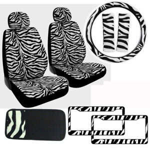 White Zebra Print Car Truck Front Seat Covers Steering Wheel Cover Cd Visor Set