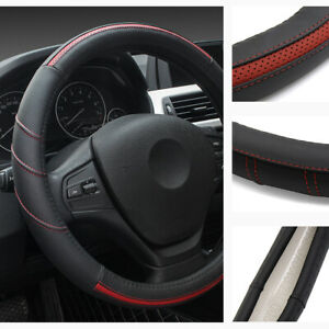 15 Inch Leather Steering Wheel Cover Breathable Anti Slip Odorless Red Fit Honda