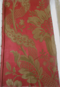 Antique 19thc French Floral Silk Brocade Fabric Lg Fragment 2 Red Gold