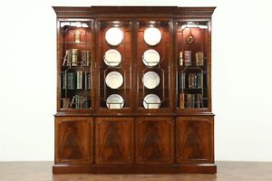 Georgian Style Vintage Breakfront China Cabinet Or Bookcase Signed Councill