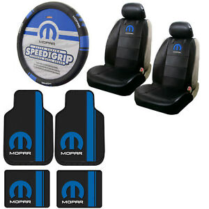 Blue Mopar Car Truck Front Back Floor Mats Seat Covers Steering Wheel Cover