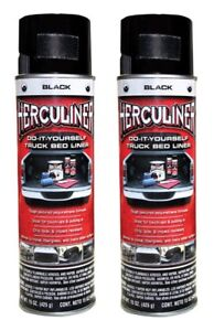 2 Cans Herculiner Truck Bed Coating 15 Oz Black Spray Can