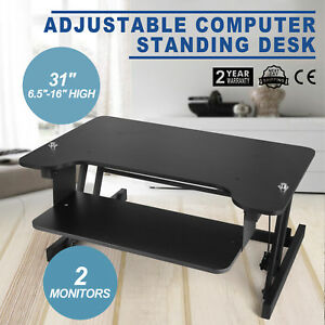 Ergonomic Adjustable Height Stand Up Desk Black Lift Rising Laptop Brand New