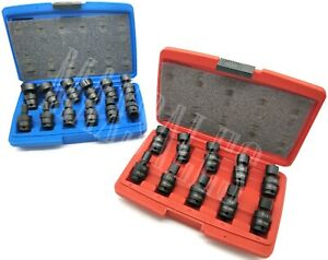 22pc 3 8 Dr Shallow Universal Impact Ball Swivel Socket Set Metric