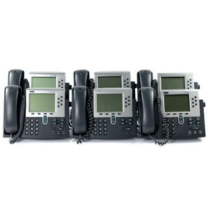 Lot Of 6 Cisco Cp 7960g Voip Phone 7900 Series With Handset And Stand