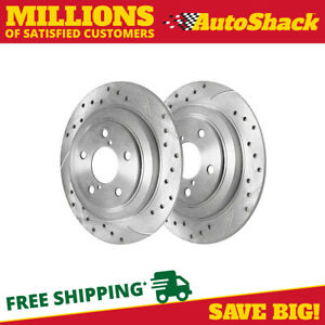 Rear Drilled Slotted Performance Rotors Pair 2 For 98 08 Subaru Forester 96121