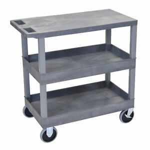 Luxor Plastic Grey High Capacity 3 shelf Tub And Flat Cart
