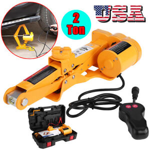 12v 2 Ton Automotive Electric Scissor Car Jack Lifting Impact Wrench Tools Kit