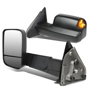 Fit 02 09 Dodge Ram Pair Powered Towing camper Side Mirror W heated puddle Light
