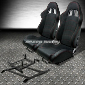 2 X Black Suede Reclinable Racing Seat Low Mount Bracket For 03 09 Nissan 350z Z