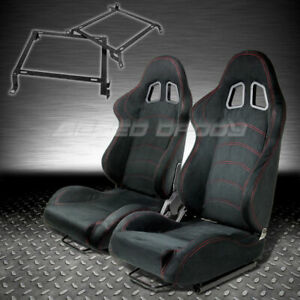 T1 Fully Reclinable Black Suede Racing Seat Seats Slider Bracket 92 01 Civic Dc