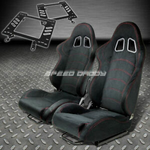 Pair Type 1 Reclining Black Suede Racing Seat bracket For 79 98 Ford Mustang