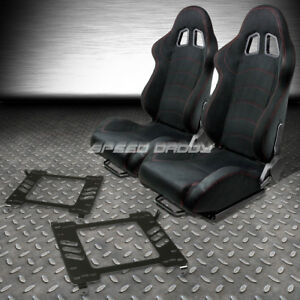 2 X Black Suede Reclinable Racing Seats bracket For 05 14 Ford Mustang gt S 197