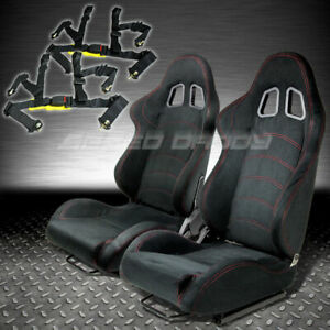 T1 Fully Reclinable Black Red Suede Racing Seat Seats Sliders 4pt Harness Belt