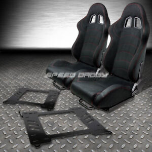 2 X Black Suede Reclinable Racing Seats bracket For 99 05 Bmw E46 3 series m3