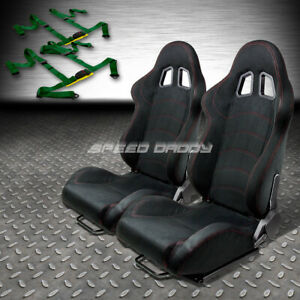 2 X Black Suede Reclinable Racing Seats Universal Slider 4pt Harness Green Belts