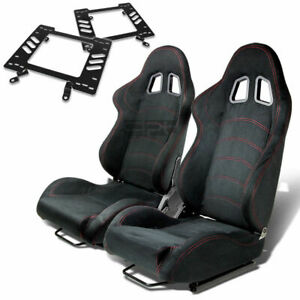 Type 1 Racing Seat Black Suede Silder Rail For 79 98 Ford Mustang Bracket X2
