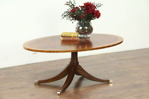 Traditional Vintage Oval Coffee Table Banded Mahogany Signed Ethan Allen