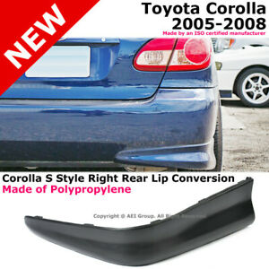Toyota Corolla 05 08 S Style Rear Passenger Lower Body Kit Lip Spoiler Pp Black