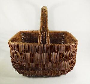 Large Antique Hand Woven Gathering Basket Handled Turn Of The Century Primitive
