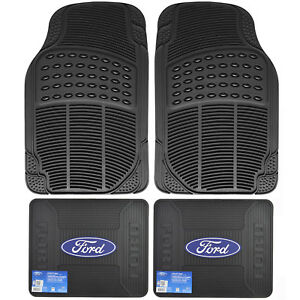 Front Rear Car Truck All Weather Rubber Floor Mats Set Ford Elite Logo Utility