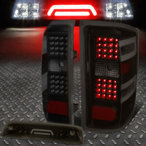 For 14 17 Silverado Sierra Full Led Tail Light 3d Third Brake Cargo Lamp Smoked