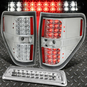 For 09 14 Ford F150 Full Led Tail Light Dual Row Third Brake Cargo Lamp Chrome