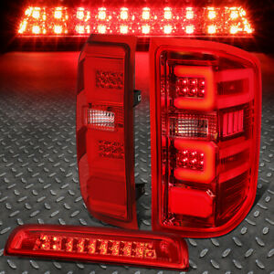 For 14 17 Silverado Sierra 3d Led Bar Tail Light Third Brake Cargo Lamp Red Lens
