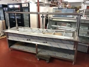 Stainless Steel Steam Table 96 7 Pans 2 Burners 40 000 Btu W Sneeze Guard Nsf