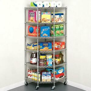 Heavy Duty Wire Steel 6 tier Corner Shelf Garage Storage Shelving Rack Chrome
