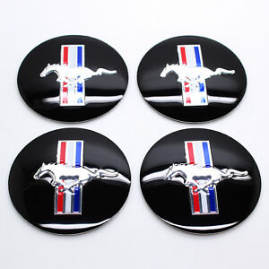 4 56mm Mustang Cobra Gt Racing Wheel Center Hub Cap Running Horse Emblem Sticker