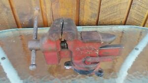 Vintage Table Bench Vise 3 1 4 Jaws Machinist Signed Smart 7 11 Swivel Base