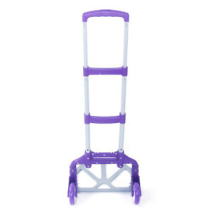 Purple Hand Trolley Portable 170lb Push Luggage Cart Folding Dolly Collapsible