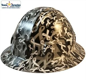 White Ribbon Hydro Dipped Full Brim Hard Hat W ratchet Suspension