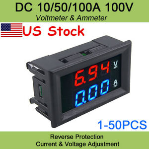 Dc 100v10a Voltmeter Ammeter Blue Red Led Amp Dual Digital Volt Meter Gauge Us