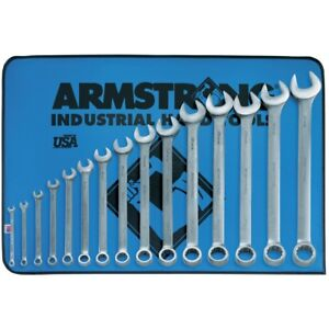 Armstrong 52 682 15 Piece 12 Point Satin Finish Long Combination Wrench Set Usa