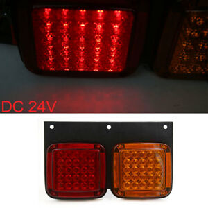 Universal Trailer Truck Yellow Red 100 Led Right Left Rear Tail Light Lamp
