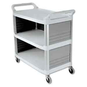 Rubbermaid Commercial Off white Three shelf Xtra Utility Cart
