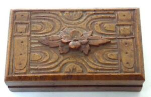 Small Vintage Wood Box Carved Flowers Straps With Buckles
