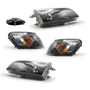Black Set Front Head Lamp Light For Toyota Corolla Ae100 1991 1995