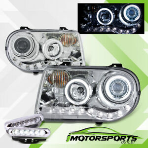 Cdrl Ccfl Halo 2005 2010 Chrysler 300c Led Projector Chrome Headlights Set