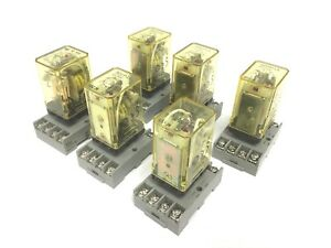 Lot Of 6 Idec Rr2p ul Ice Cube Relays Coil Voltage 24vdc 2 pole Sr2p 06 Socket