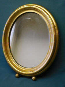 Vintage Oval Mirror Solid Wood Gold Gilded Shadows Box Frame Wall
