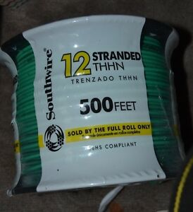 500 Ft 12 gauge Stranded Thhn Insulated Copper Wire Max 600 Volts Green
