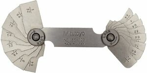 Mitutoyo 186 103 Radius Gage Set 16 Pairs Of Leaves 1 32 To 17 64 By 64ths