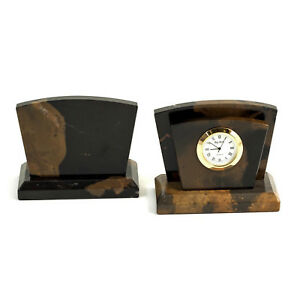 Desk Accessories Marble Letter Holder With Quartz Clock Letter Rack