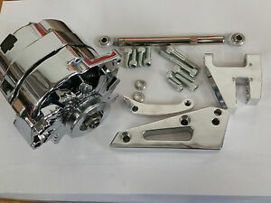Chrome 100 Amp 1 One Or 3 Wire Sbc Sb Chevy Alternator W Bracket Short Pump Swp