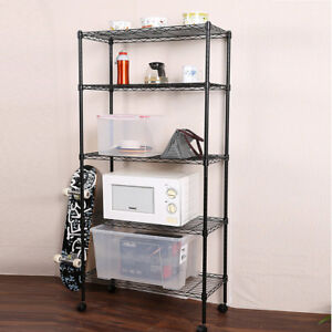 5 Tier Shelf Adjustable Wire Metal Shelving Rack W rolling Home Storage Cart