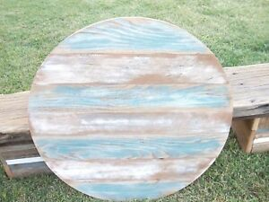 24 Round Rustic Solid Reclaimed Barnwood Wooden Coffee Table Top Restaurant
